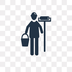 Painter with paint roller vector icon isolated on transparent background, Painter with paint roller  transparency concept can be used web and mobile