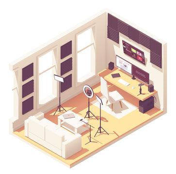 Vector isometric video blogger studio