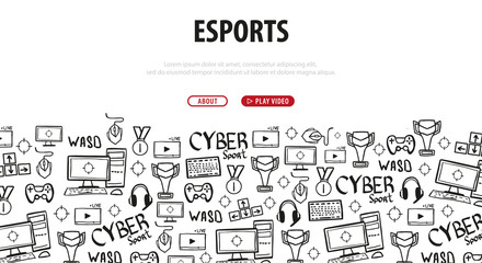 Cyber Sport banner. Esports Gaming. Video Games. Live streaming game match. Vector illustration.