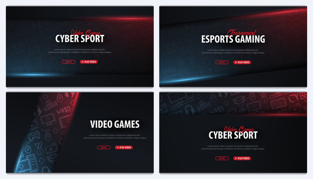 Set of Cyber Sport banners. Esports Gaming. Video Games. Live streaming game match. Vector illustration.