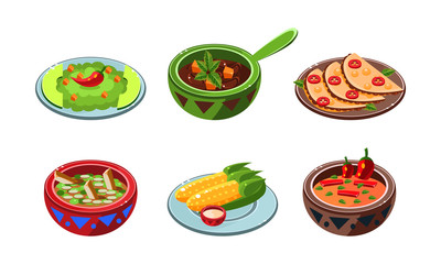Collection of Mexican dishes, traditional national spicy meal vector Illustration on a white background