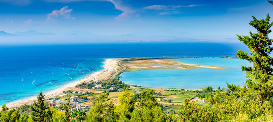 Aerial panorama of Lefkada island, coastline and beaches in a sunny day in Greece - Europe