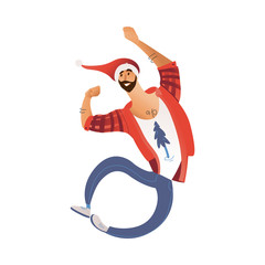 Vector cartoon cheerful young bearded man in santa hat in jeans having fun laughing jumping. Male character with positive emotions at christmas, new year party