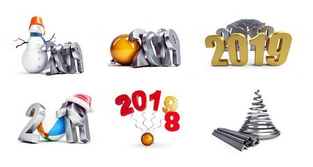 a7097948096f7 2019 santa hat beach ball on a white background 3D illustration