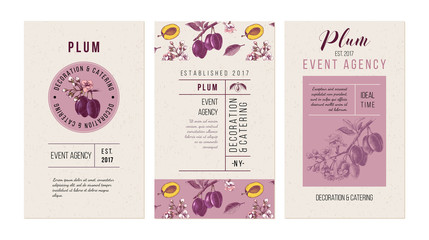 Plum event agency banners. Template with hand drawn plums.