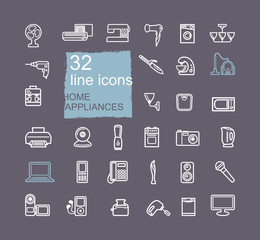 Home appliances linear icon set. Vector illustration