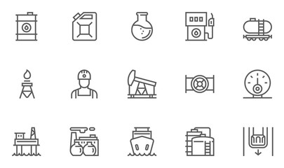 Oil and Petrol Industry Vector Line Icons Set. Gas Station, Oil Factory, Gas Carrier, Oil Well. Editable Stroke. 48x48 Pixel Perfect.
