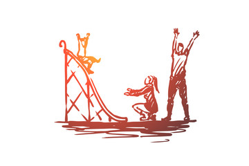 Playground, childhood, family, kids, game concept. Hand drawn isolated vector.