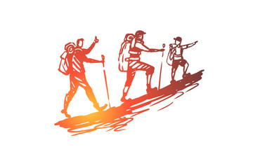 Pedestrian, tourism, travel, people, summer concept. Hand drawn isolated vector.