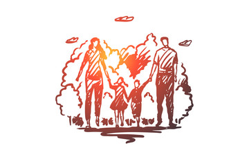 Family, walk, park, parents, leisure concept. Hand drawn isolated vector.