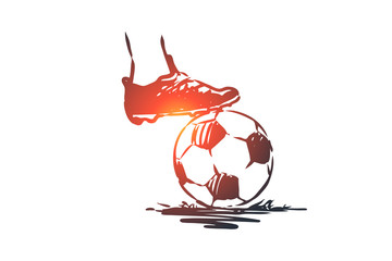 Fine, penalty, football, soccer, game concept. Hand drawn isolated vector.