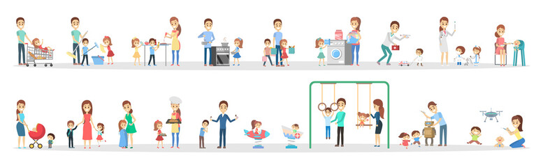Woman and man clean home and doing a housework