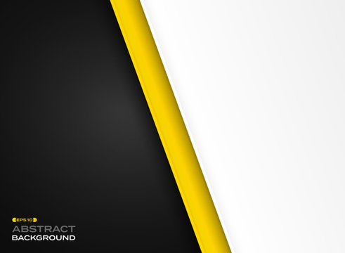 Abstract of futuristic technology yellow black white background.