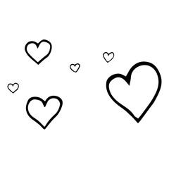 Set of simple hearts. Vector illustration heart. Hand drawn.