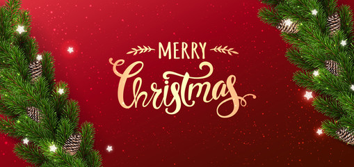 Gold Merry Christmas text on red background with garland of Christmas tree branches, stars. Xmas and New Year card. Vector Illustration