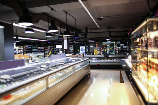 Interior of modern grocery store