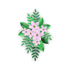 Vector illustration of floral composition with pink flowers and green leaves in flat style. Isolated beautiful decorative element with tender blossoms for romantic natural design.