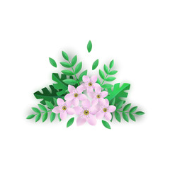Floral composition vector illustration with beautiful pink flowers and green leaves in flat style isolated on white background - tender blooms with foliage for romantic design.