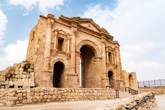 The Arch of Hadrian in Jerash, Jordan is an 11-metre high triple-arched gateway erected to honor the visit of Roman Emperor Hadrian to the city in the winter of 129-130.