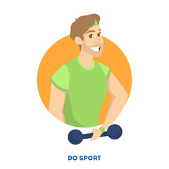 Male character doing sport exercise with dumbbell