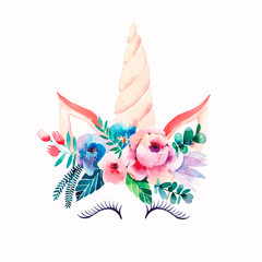 Bright beautiful spring lovely cute fairy magical colorful pattern of unicorns with eyelashes in the floral tender crown watercolor hand illustration Perfect for greeting cards, textile, backgrounds