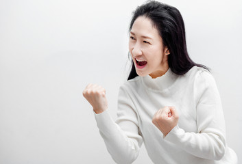 Attractive Modern asian woman feeling with Black hair showing joyful emotion such as be smile,love,wow surprise,excellent,Happy .
