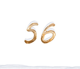 Gold Number 56 with Snow on white background