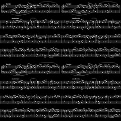 White music sheet on black, seamless pattern
