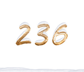 Gold Number 236 with Snow on white background