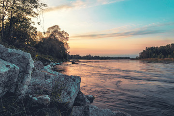Sunset on the banks of the Ticino river