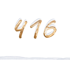 Gold Number 416 with Snow on white background