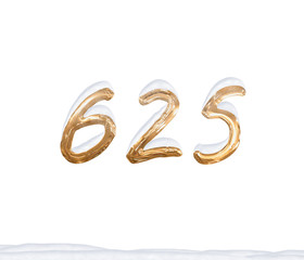 Gold Number 625 with Snow on white background