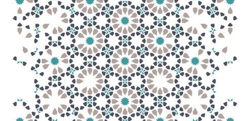Tile seamless vector pattern. Geometric halftone pattern with color arabesque disintegration or breaking Wall mural