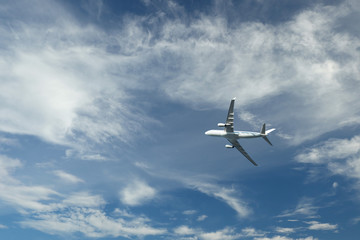 Airplane flying in blue sky and clouds