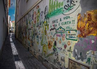 Assorted Graffiti in Narrow Alley, Aveiro, Portugal