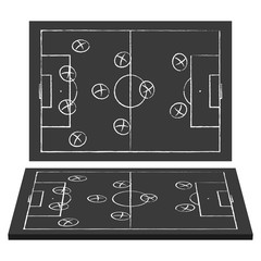 Football field. Blackboard. Strategy game. Top view and perspective.