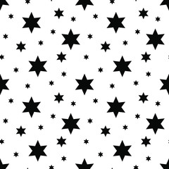 Vector seamless stars pattern. Star background based on random elements for high definition concept. Vector illustration isolated on white background.