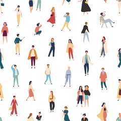 Seamless pattern with people in fashionable outfits walking, standing, posing for photo, talking. Backdrop with stylish men and women. Colorful vector illustration in flat style for textile print.