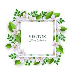 Vector illustration of floral composition with tender light flowers and green leaves around square card with copy space - natural element with blooms for romantic design isolated on white background.