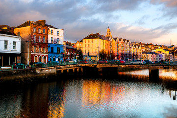 Bank of the river Lee in Cork, Ireland city center with various shops
