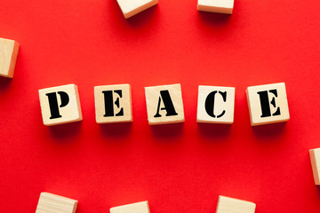 Peace On Wooden Blocks