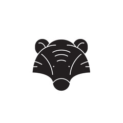 Badger head black vector concept icon. Badger head flat illustration, sign, symbol