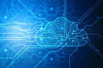 Cloud computing, Cloud Computing Concept. Cloud Internet technology background. 2d illustration
