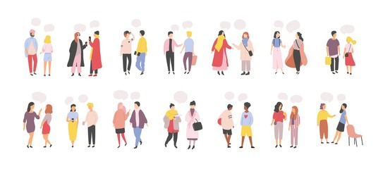 Wall Mural - Collection of men and women standing and speaking, talking, chatting, delivering verbal messages to each other isolated on white background. Set of dialogs or conversations. Flat vector illustration.