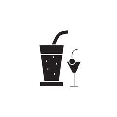 Cocktail drinks black vector concept icon. Cocktail drinks flat illustration, sign, symbol