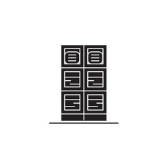 Data center black vector concept icon. Data center flat illustration, sign, symbol