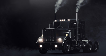 Classic black semi truck on dark background with smoke (3D illustration) Wall mural