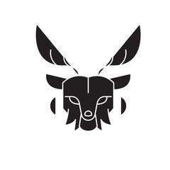 Deer head black vector concept icon. Deer head flat illustration, sign, symbol