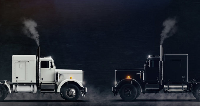 Two classic semi trucks facing each other side view on dark background with some (3D illustration)