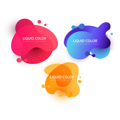 Set of wave liquid  gradient splashes. Vector design for covers, greeting card, poster or flyers.